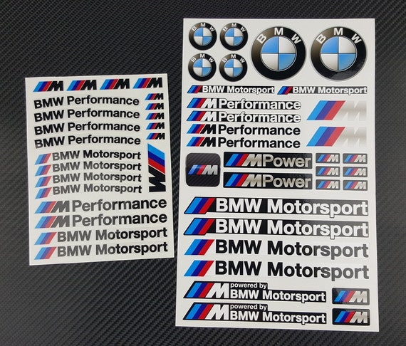 bmw mpower 2 decal sets sheet 53 stickers m3 m4 m5 m6 m power. Black Bedroom Furniture Sets. Home Design Ideas