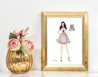 Fashion illustration print - Bakery logo -  Wall decor art Fashion poster - Cupcakes