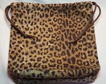 Leopard Print Upholstery Fabric Drawstring Bag