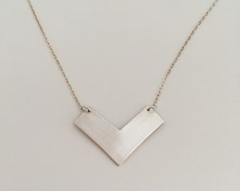 Large chevron necklace made of fine silver with sterling silver chain