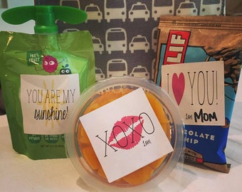 """Labels- Lunchbox Love Notes- 2"""" x 2"""" labels  (Set of 12)"""