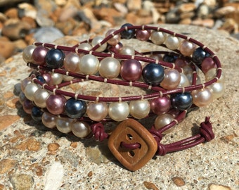 Vintage Glass Pearl wrap bracelet - On Mulberry purple leather