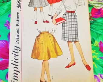 """Simplicity  Sewing Pattern - girl's set of skirts - size 7 waist 22 1/2"""" - 1961  - mpn 3767 - Unused and complete"""