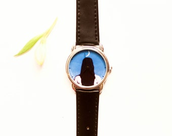Magritte-Crescent moon and woman-Woman back art-Unique wrist watch-Back girl-Black hair-Art wrist watch-Gift idea-Quartz Watch-Free shipping