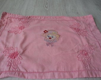 Vintage French embroidered nightdress case / cushion cover (01583)