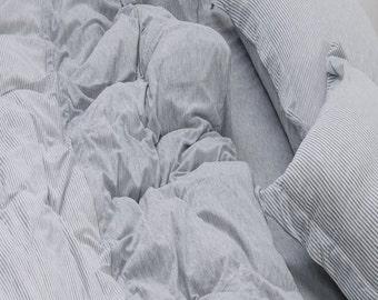 Grey Queen Duvet Cover Ticking Stripe Duvet Cover Set Twin Full Queen Jersey Cotton Bedding