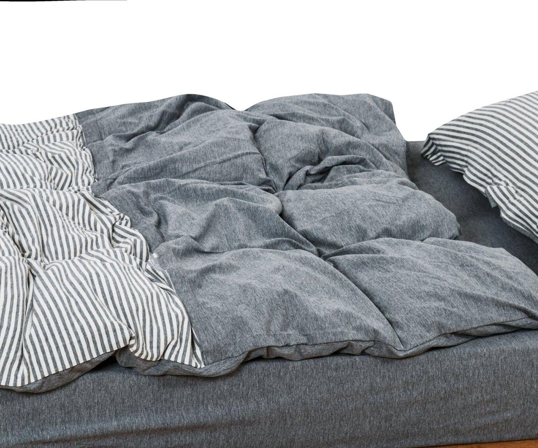 Cotton Jersey Duvet Cover Set Grey Ticking Stripe Duvet Cover