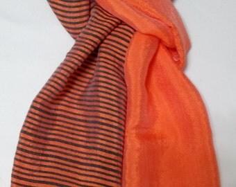 Women's 100% Handwoven Large Bright Orange/Black Contrasted Lustrous Ethiopian Cotton Scarf