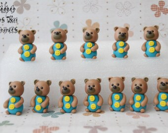 Edible 3D Teddy Bear Fondant Cupcake Toppers , Birthday Cupcake Toppers , Baby Shower Cupcake Toppers , Gathering Cupcake Toppers