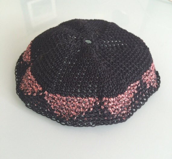 Kippah, Crochet Metallic Kippah, Geometric Design Kippah, Kippot ...