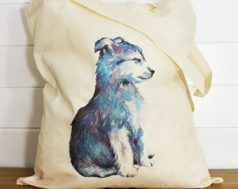 Watercolour Wolf Cub Fine Art Tote Bag