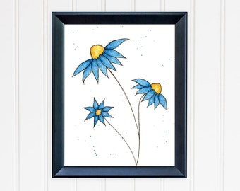 Blue Daisy Art Print. Whimsical Wall Art. Watercolor Flower. 8x10 Print. Mother's Day Gift. Nursery Wall Art. Gift for Mom. Gift for Her.