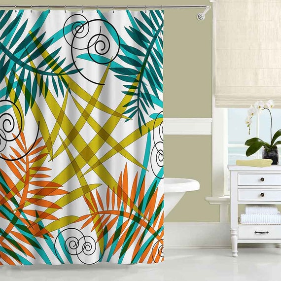 Teal Orange Olive Green Shower Curtain Floral Shower
