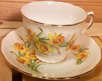 Yellow Blossoms:  Royal Vale Teacup and Saucer