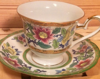 Multicoloured Floral Shafford Teacup and Saucer