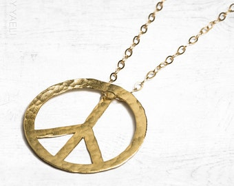 Long necklace, statement necklace, peace necklace, peace sign necklace, hippie necklace, gold peace pendant, gift under 50, gift for her.