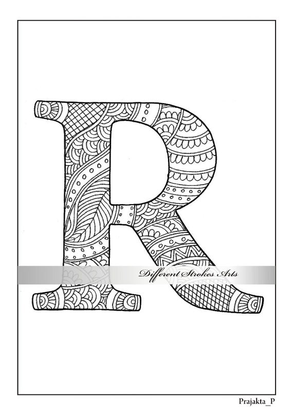 letter r coloring page printable coloring pages coloring book for adults zentangle alphabet personalized coloringletter illustrations - Letter Printable Coloring Pages