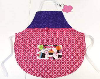 Kid's Apron: Little Girl's Apron Pink and Purple . Available sizes  3/4, 5/6