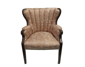 Vintage Dusty Rose  Brocade Channel Back  Chair