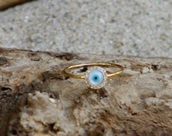 Nazar Gold Color Metal Ring