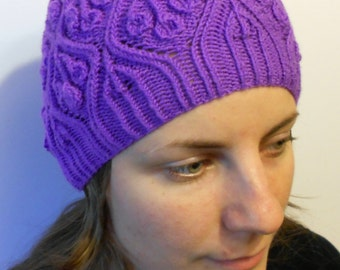 Amethyst Orchid hat - knitted hat - beanie knit hat - womens knitted hat - violet hat