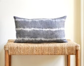 Lumbar Pillow Cover in Gray with White Stripes for a 12x21 Pillow