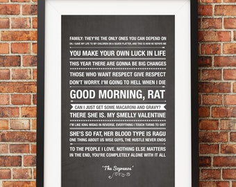 The Sopranos Quotes - Jpeg/PDF - A4 + Letter + 8x10 - INSTANT DOWNLOAD - Digital Print - Wall Art - Printable Poster