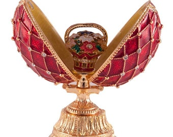 Faberge style egg with Flowers gilded Openwork red jewelry box Austrian crystals - kodfb23