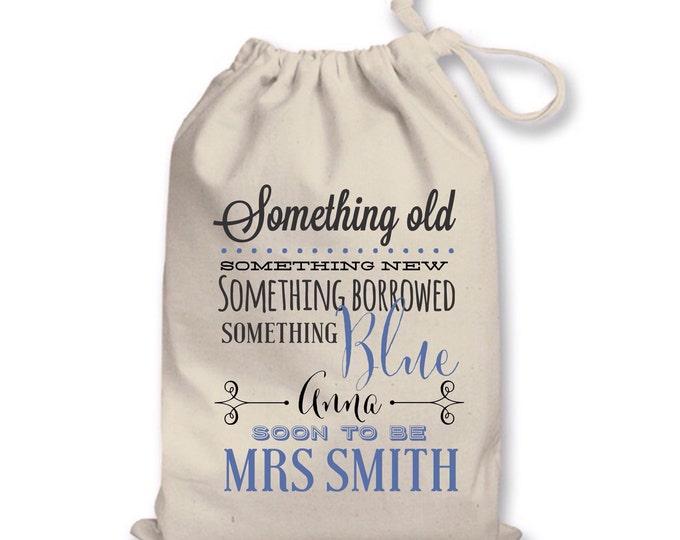 Personalised Wedding gift bag, Brides keepsake bag, tote bag, wording of your choice. Something new and blue