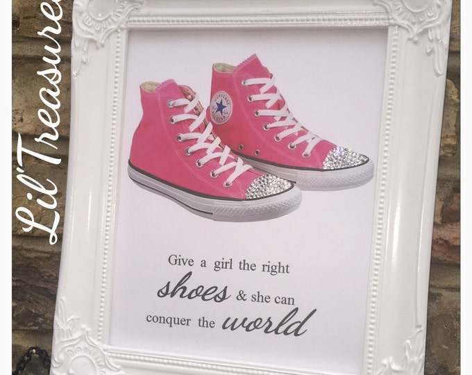 Crystal converse shoes custom prints | Please leave your converse at the door or Give a girl the right shoes quote from marilyn monroe.