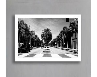 LA Print (Los Angeles, Black and White Photograph, Wall Art, Home Decor, Digital Print, Instant Download, Unframed or Framed print)
