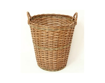 Tall Willow Storage Basket complete with Sturdy Handles - Ideal Toy Storage or Log Basket - L005