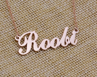 Rose Gold Name Necklace,Personalized Jewelry,Nameplate Jewelry,Cute Name Necklace,Custom Name Necklace,Christmas Gift,Name Pendant N134
