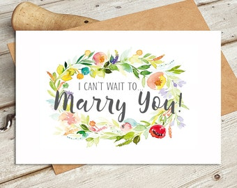I Can't Wait to Marry You! Wedding Day Card - Watercolour Design Card is Blank Inside for Your Own Message - From Groom to Bride Card