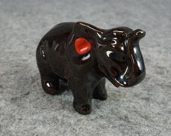 Vintage Brown Ceramic Elephant Figurine