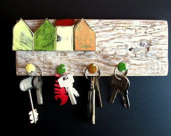 Hanger for keys,a gift for a housewarming,sculpture of wood, country decor, home decor, old houses, miniature houses