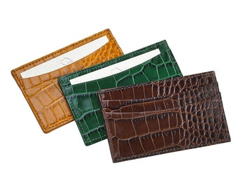 Monogrammed Crocodile Print Leather Business Card Holder Or Credit Card Wallet