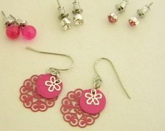 Pink Crystal Post Dangle Pierced Earrings