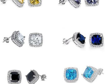 EC410977 Cushion Cut multi color Cubic Zirconia .925 Sterling Silver stud Earrings sparkle and fire! free world wide shipping lowest price