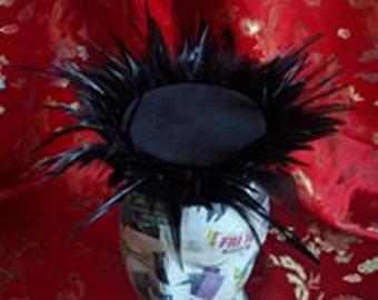 Black pillbox hat, velvet/feather