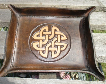 Personalized Leather Valet Tray. Celtic Knot,  Dresser Tray, Desk Tray, Change tray, leather bowl trinket tray.