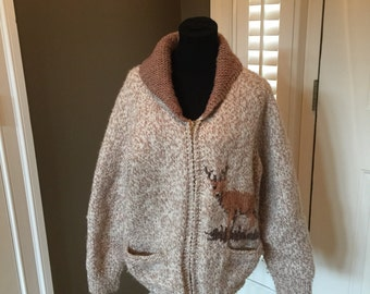 HANDMADE xl vintage knit DEER sweater COAT