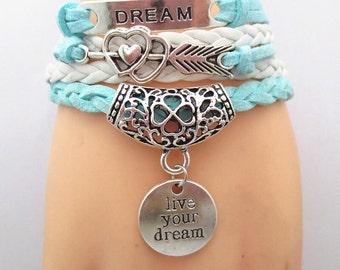 DREAM Handmade Braided Leather Infinity Love Live Your Dream Bracelet