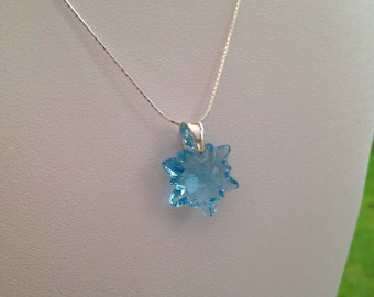 Aquamarine Crystal Edelweiss with Sterling silver, Swarovski crystal edelweiss pendant, aqua necklace, aquamarine pendant, gift for her