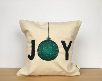 Christmas pillow, Christmas pillow cover, holiday pillow, custom pillow, Christmas decor, joy pillow, housewarming gift, throw pillow