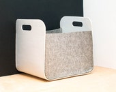 White and Gray  Felt Storage Bin /  Household Storage / Modern Storage Basket / Color  Storage / Felt box