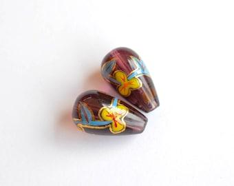6 pcs Vintage Teardrop Glass Beads, 18mm x 10mm