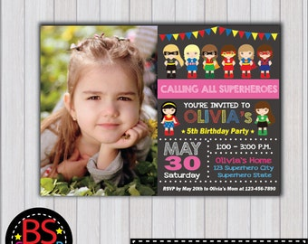 SUPERHERO Girl Invitation, Superhero Girl Birthday Party invitation, Girl Superhero invite, Super girl invitation