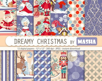 "Christmas patterns: ""Dreamy Christmas Digital Paper"" with Santa Claus pattern, reindeer pattern, winter pattern, 12 images 300 dpi. jpg file"