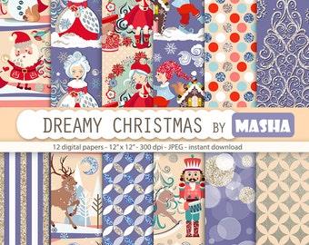 "Christmas patterns: ""Dreamy Christmas Digital Paper"" with Santa Claus pattern, reindeer pattern, winter pattern, 12 images 300 dpi. jpg file"